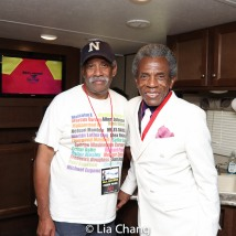 Michael Johnson, Creative Director of the Cadillac Parade and Billie Holiday Jazz Festival and Grand Marshal André De Shields. Photo by Lia Chang