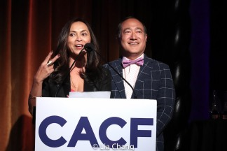 Co-emcees Ernabel DeMillo and Alan Muraoka. Photo by Lia Chang