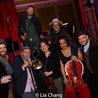 Liam Robinson, Brian Drye, Robinson Morse, Dana Lyn, Marika Hughes, Michael Chorney, Ben Perowsky. Photo by Lia Chang