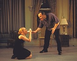 Panic attack: David Zayas helps Elizabeth Canavan with her inhaler in Our Lady of 121st Street at Union Square Theater in 2003. Photo: Webb Wilcoxen