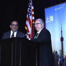 Max Chang, Spike 150 Board of Directors and Judge Michael Kwan, President, Chinese Railroad Workers Descendants Association attend the 2019 CRWDA Awards Gala at the Marriott Downtown City Creek Hotel in Salt Lake City on May 11, 2019. Photo by Lia Chang