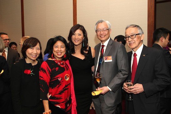 Sandy Leung, Alice Young, Juju Chang, Parkin Lee and Henry Moritsugu at the AALDEF lunar new year gala at Pier Sixty at Chelsea Piers in New York on February 23, 2015. Photo by Lia Chang