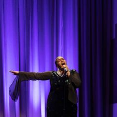 """Barbara Douglas performing """"I Am Changing."""" Courtesy of The Cooper Union/Photo by Marget Long"""