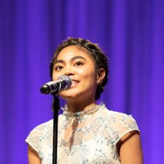 """Lianah Sta. Ana performing """"The Movie in My Mind."""" Courtesy of The Cooper Union/Photo by Marget Long"""