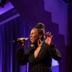 """Anastacia McCleskey performing """"Waiting for Life."""" Courtesy of The Cooper Union/Photo by Marget Long"""