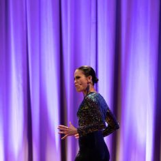 Aléna Watters performing Chita Rivera medley. Courtesy of The Cooper Union/Photo by Marget Long