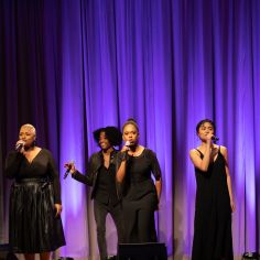 """Isaiah Alston, Lydia Warr, Kim Onah, and Lianah Sta. Ana performing """"The Schuyler Sisters."""" Courtesy of The Cooper Union/Photo by Marget Long"""