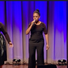 """Lydia Warr, Kim Onah, and Lianah Sta. Ana performing """"The Schuyler Sisters."""""""