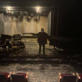James Morgan stands in The York Theatre, which sustained water damage on January 4, 2021 after a water main break Photo: James Morgan/Facebook