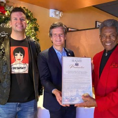 Tom D'Angora, Senator Brad Hoylman and André De Shields. Photo by Lia Chang