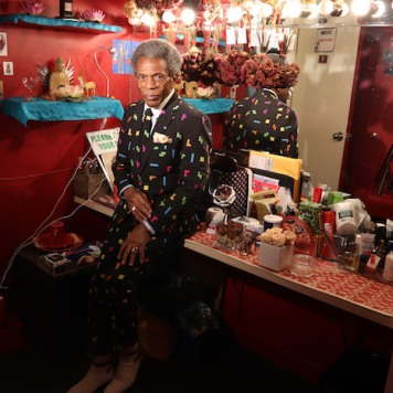 André De Shields in his dressing room at the Walter Kerr Theatre. Photo by Lia Chang