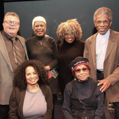 James Morgan, York Producing Artistic Director, DON'T BOTHER ME, I CAN'T COPE original cast member Hope Clarke, assistant director Julia Lema, director Leslie Dockery, creator Micki Grant and André De Shields. Photo by Lia Chang