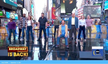 The Broadway Company of Come From Away appear on Good Morning America on September 10, 2021. Photo by Lia Chang